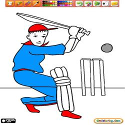 Coloring Other Sports and Games 6 Cricket