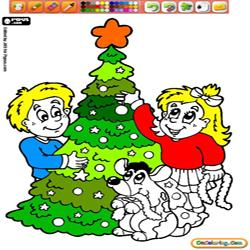 Oncoloring Children and Christmas 1