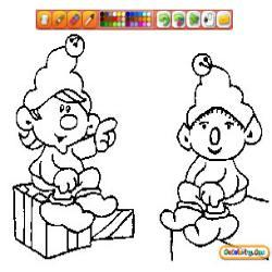 Oncoloring Christmas Elves 1