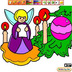 Oncoloring Christmas angels 2