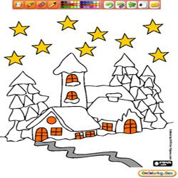 Oncoloring Christmas landscapes 2