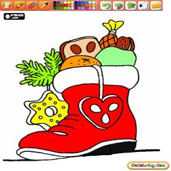Oncoloring Christmas socks and boots 2