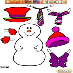 Oncoloring Dress Up Snowman 1