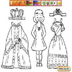 Colorea a la chica y ayudala a pintar los trajes de la reynma y el rey de formafenial porqu los usaran en una reunion importante