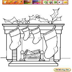 Oncoloring Fireplaces on Christmas 1