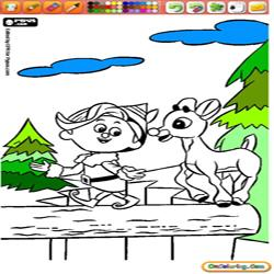 Oncoloring Rudolph the Red Nosed Reindeer 1