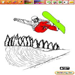 Oncoloring Snow Sports 2 Snowboard