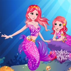 Pretty little mermaid and her mom